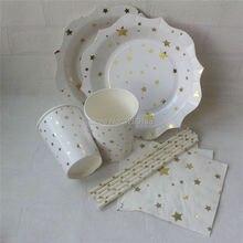 nuevo diseo de papel platos vasos servilletas paja de papel estrella de oro fiesta vajilla set for kids birthday party