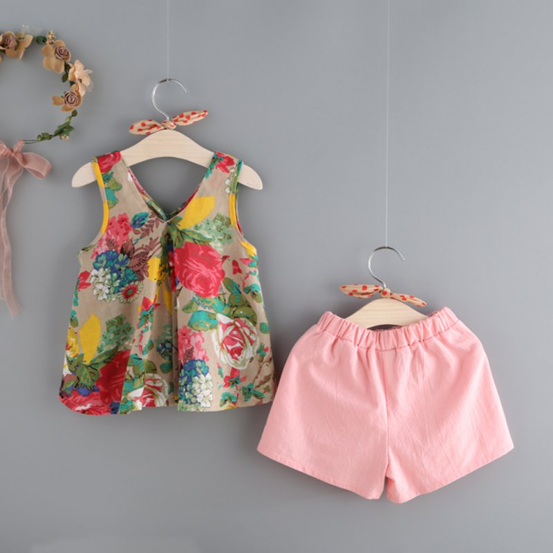 2017 Children's Girls Summer Beach Floral Printed Sleeveless Baby Vest Tops +Shorts Sets For Girls Kids Clothes Outfit Suits baby girls summer suits sleeveless vest shirt cute floral harem pants floral sets