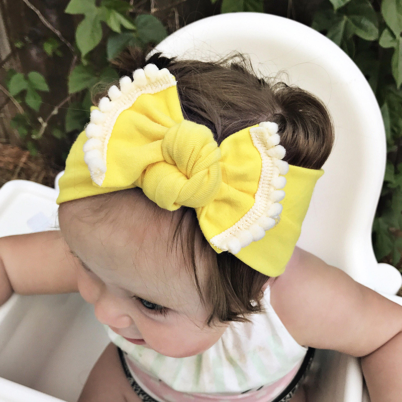 Sweet Newborn Baby Girls Boys Cute Lace Bow Tiw Headband Solid Hairband Head Wrap Hair Bands Accessories Photography Headband