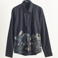 2019 Men Dress Shirt Baboons Printing Brand Shirts Designer High Quality 100 Cotton Long Sleeve Male Clothing Casual Shirts S04