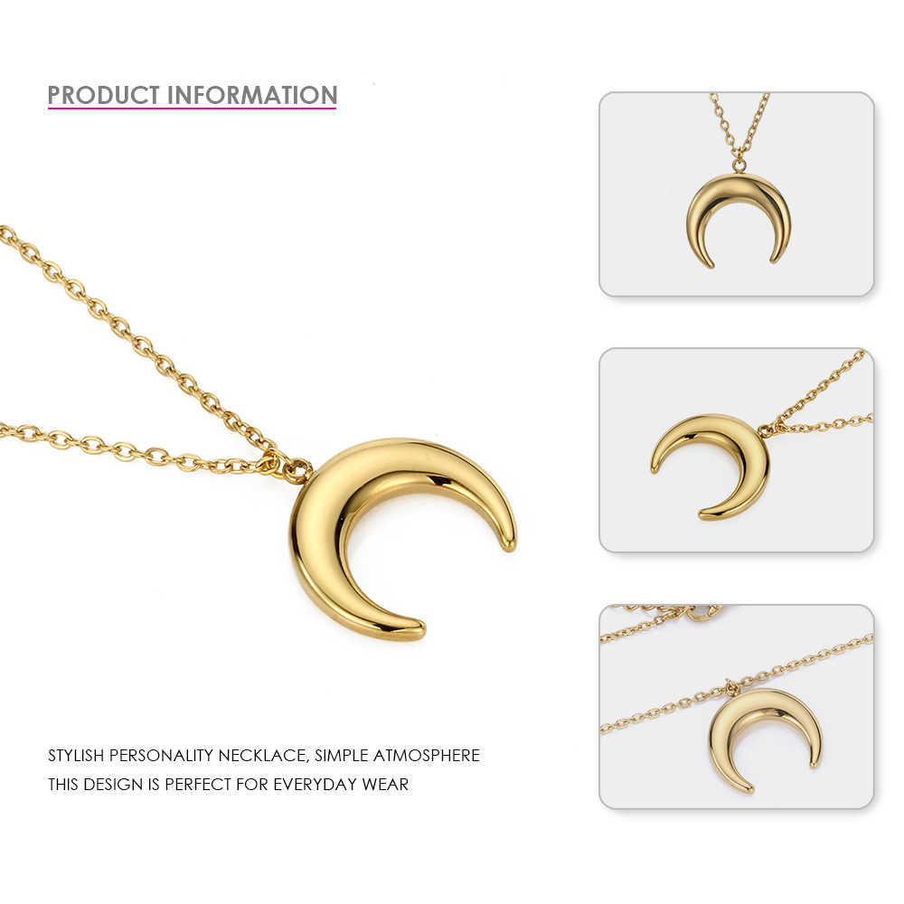 EManco 2019 Women's Long Pendant Necklace Gold Stainless Steel Chain Necklace Set Moon Fashion Jewelry Friendship Jewelry
