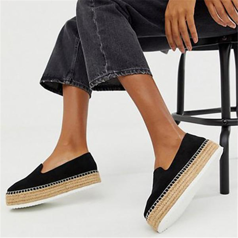 Faux Suede Espadrilles Shoes  Casual Loafers Women  Flats 2019 New Ballet Flats Ladies  Zapatos Mujer