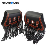 Neverland Universal Motorcycle Tassel Saddle Bag Side Tool Pouches Cruiser Bags For Harley Sportster Dyna D35