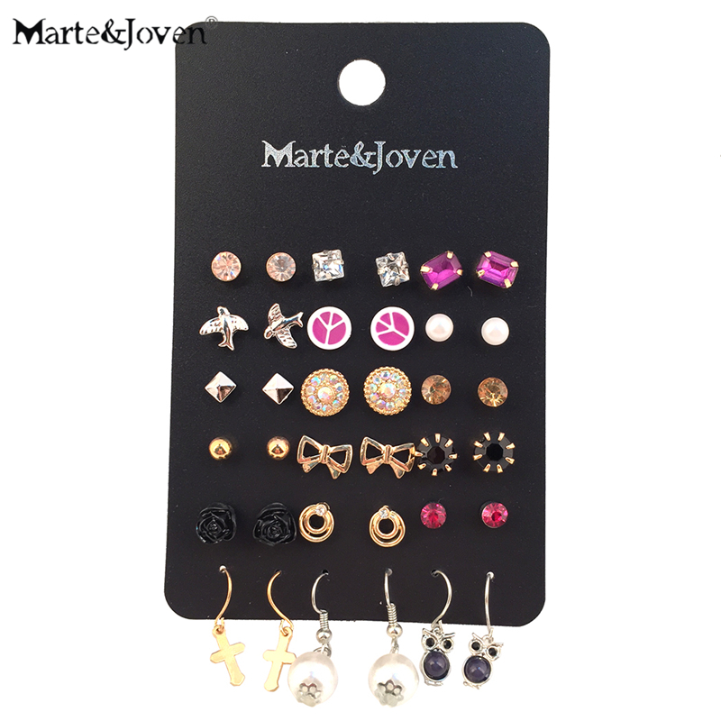 18 Pairs/lot Wholesale Mixed Multicolor Geometric Peace Cross Heart Bird Flower Owl Bowknot Stud Earrings Set For Women
