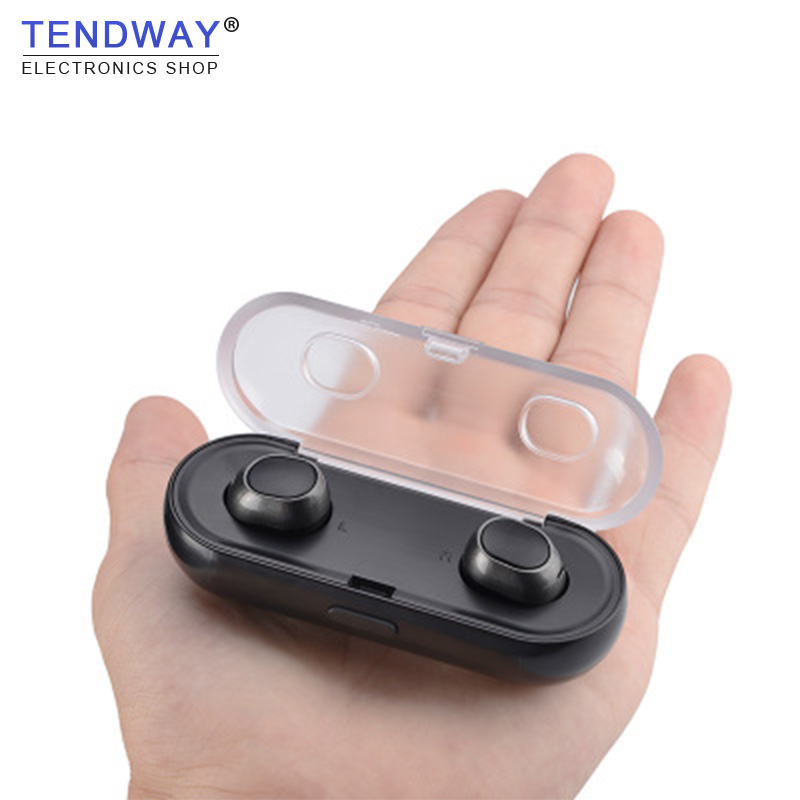 Tendway TWS Bluetooth Wireless Mini Metal Sport Wireless Earphones Stereo Runing earbuds ecouteur with Charge Box for Gaming