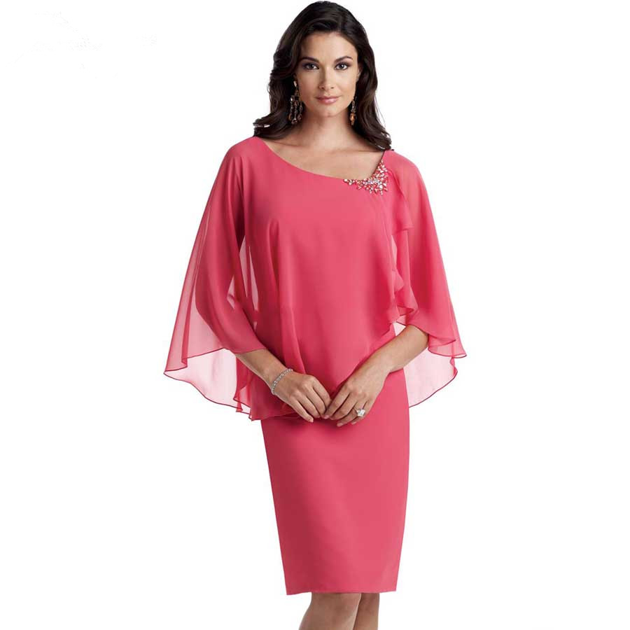 Hot Sale Scoop Neckline Sheath Knee Length Mother of the Bride Simple Chiffon With Crystals Mother