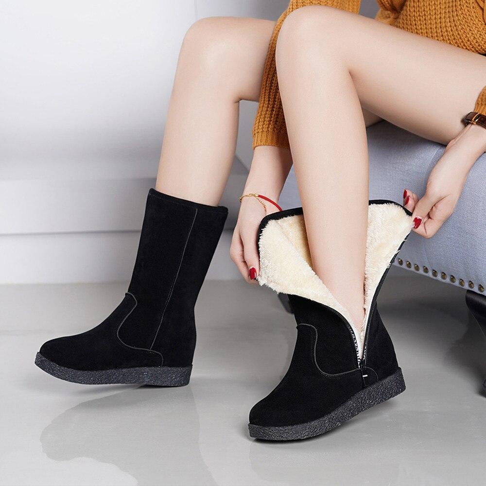 2ddb693276 Zapatos Plana Tubo Rode Negro Martin Moda Cargadores Bajo Mujeres Mujer  Invierno Nieve Espesado Botas Del Central La Las Cremallera ...