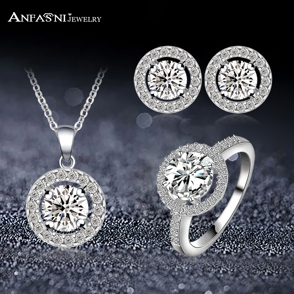 ANFASNI Luxury Jewelry Set Round Shape Clear AAA Cubic Zircon Necklace/Earring/Ring Set For Woman Party Jewelry Wholesale bijoux hibride luxury new butterfly shape earring necklace jewelry set women party jewelry small link pendant brincos bijoux n 643