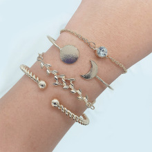 4 Pcs Fashion Leaf Moon Round Bracelet Set Classic Adjustable Open Chain Women Party Jewelry More Styles