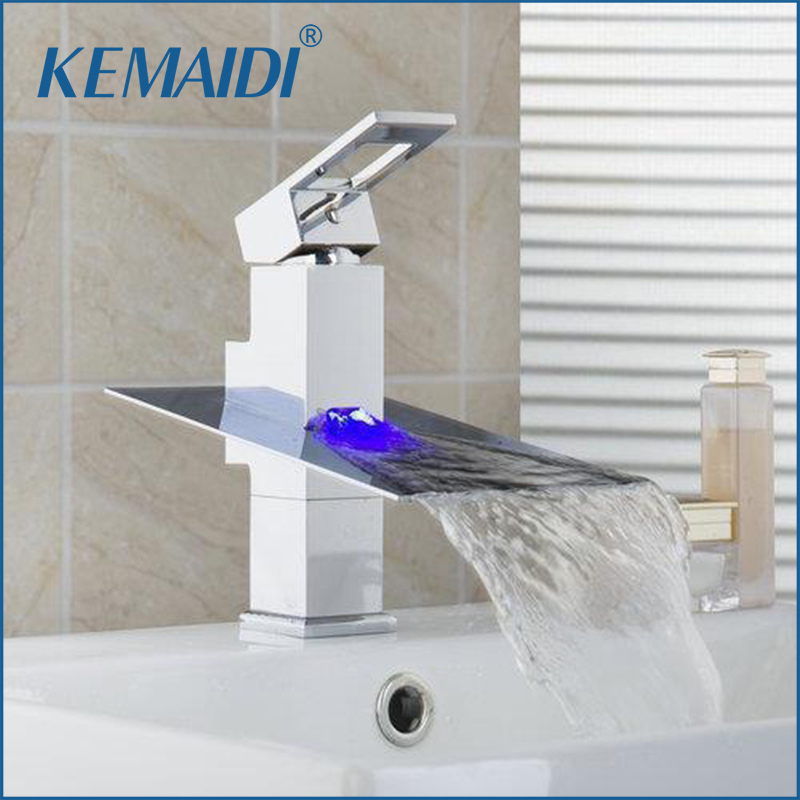 KEMAIDI No Need Battery LED Light Waterfall Bathroom Chrome Deck Mounted Single Handle Wash Basin Sink Torneira Faucet,Mixer Tap коляска прогулочная mr sandman tour бежевый kmst 0552mr05