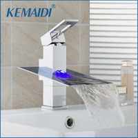 KEMAIDI No Need Battery LED Light Waterfall Bathroom Chrome Deck Mounted Single Handle Wash Basin Sink Torneira Faucet,Mixer Tap