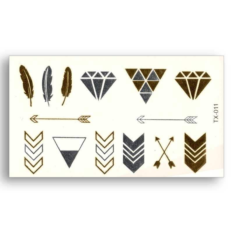 Feather Arrow Diamond triangle Design Fake tattoo Metallic Gold Sliver Waterproof Temporary Stickers Water Transfer Pattern