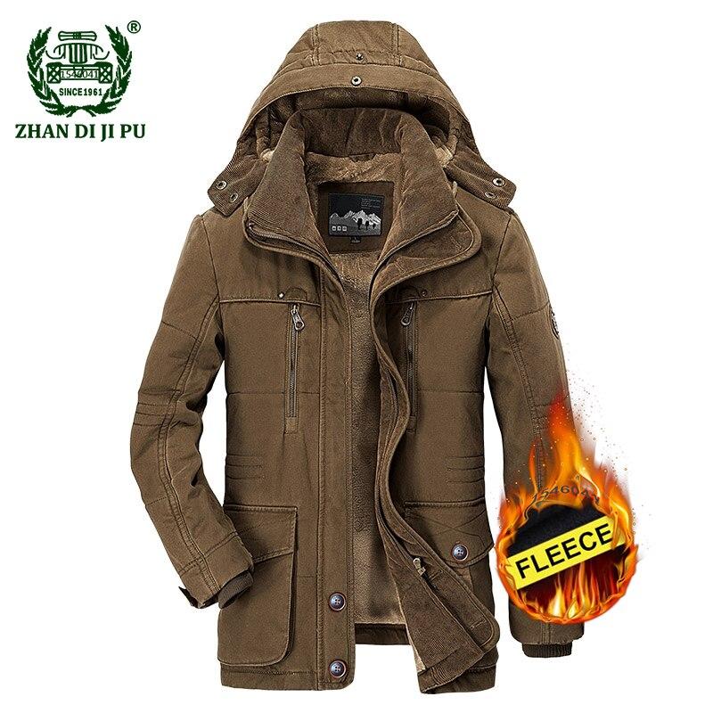 2018 Мужская Утепленная хлопковая парка большого размера M 6XL, зимняя куртка с капюшоном, мужская повседневная брендовая плотная куртка afs jeep и...