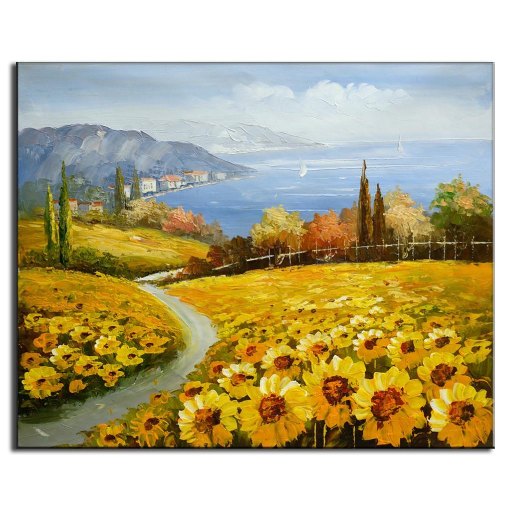 Mediterrane meer sonnenblumenfeld Ölgemälde landschaft wandmalereien ...
