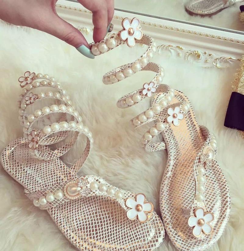 Ženske sandale Biser okoli cvetličnih žensk Gladiatorski sandali - Ženski čevlji