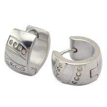 Fsahion ювелирные изделия серьги нержавеющая сталь серьги для мальчики серьги-клипсы 7 мм * 9 мм с кристалл на поверхности