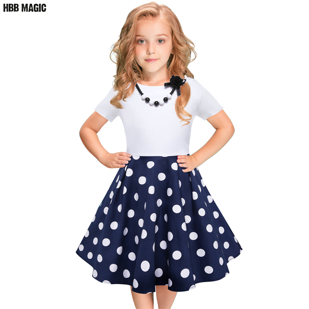 Dots Girls Dress Summer Short Sleeve Children Girl Party Princess Dress Fashion Kids Girls Cotton Dresses with Necklace 5-12Year toddlers girls dots deer pleated cotton dress long sleeve dresses page 10