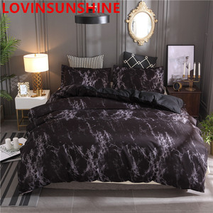 Image 2 - LOVINSUNSHIN Printed Marble Bedding Set White Black Duvet Cover King Queen Size Quilt Cover Brief  Comforter Cover aa33#