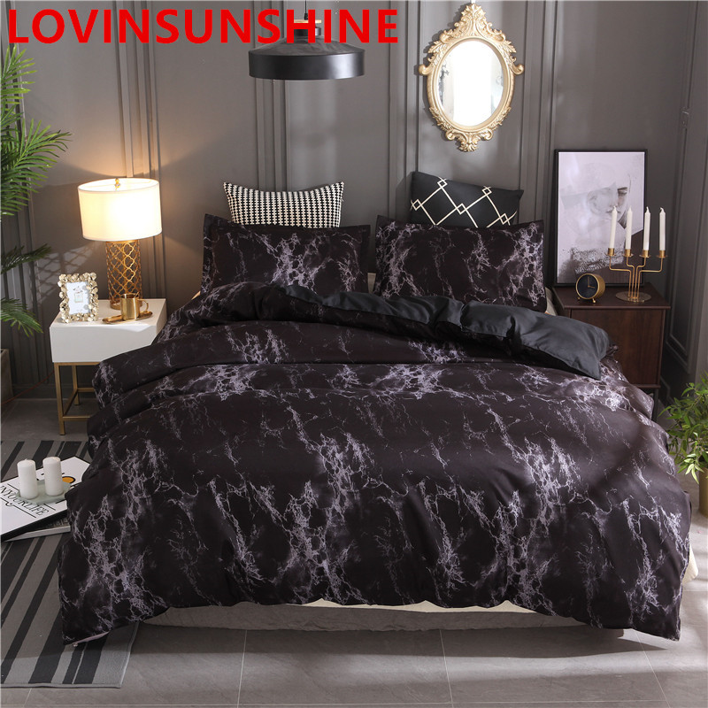 Image 2 - Printed Marble Bedding Set White Black Duvet Cover King Queen Size Quilt Cover Brief Bedclothes Comforter Cover 3Pcs-in Bedding Sets from Home & Garden