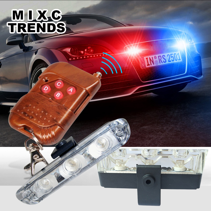 Terbaik Tahan Air DC 12 V Wireless Remote 3LED Ambulans Polisi lampu kontrol flasher Mobil Strobe Peringatan Darurat cahaya Eksternal