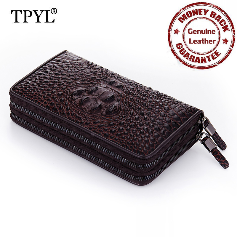 ФОТО Guaranteed 100% Luxurious Cow Leather Fashion Alligator Double Zippers Long Style Men Organizer Wallets Handheld Business Purses