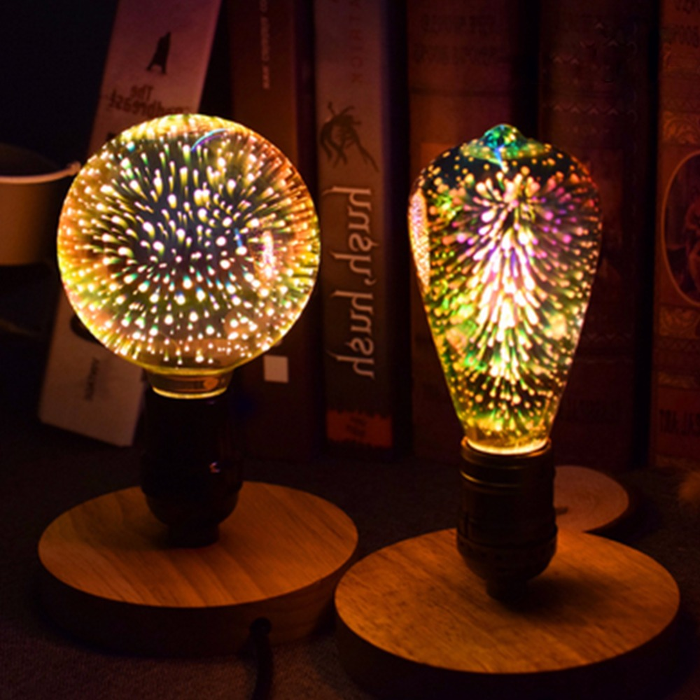 3D Led-lampe Stern E27 Vintage Edison Nachtlicht Bunte Bombillas Retro Glas Lampara Ampulle Weihnachten Home Decor feuerwerk RGB