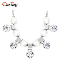 DuoTang Hyperbole Luxury Silver Plated Zircon Water Drop Choker Necklace Fashion Elegant Pearl Chain Necklace Woman