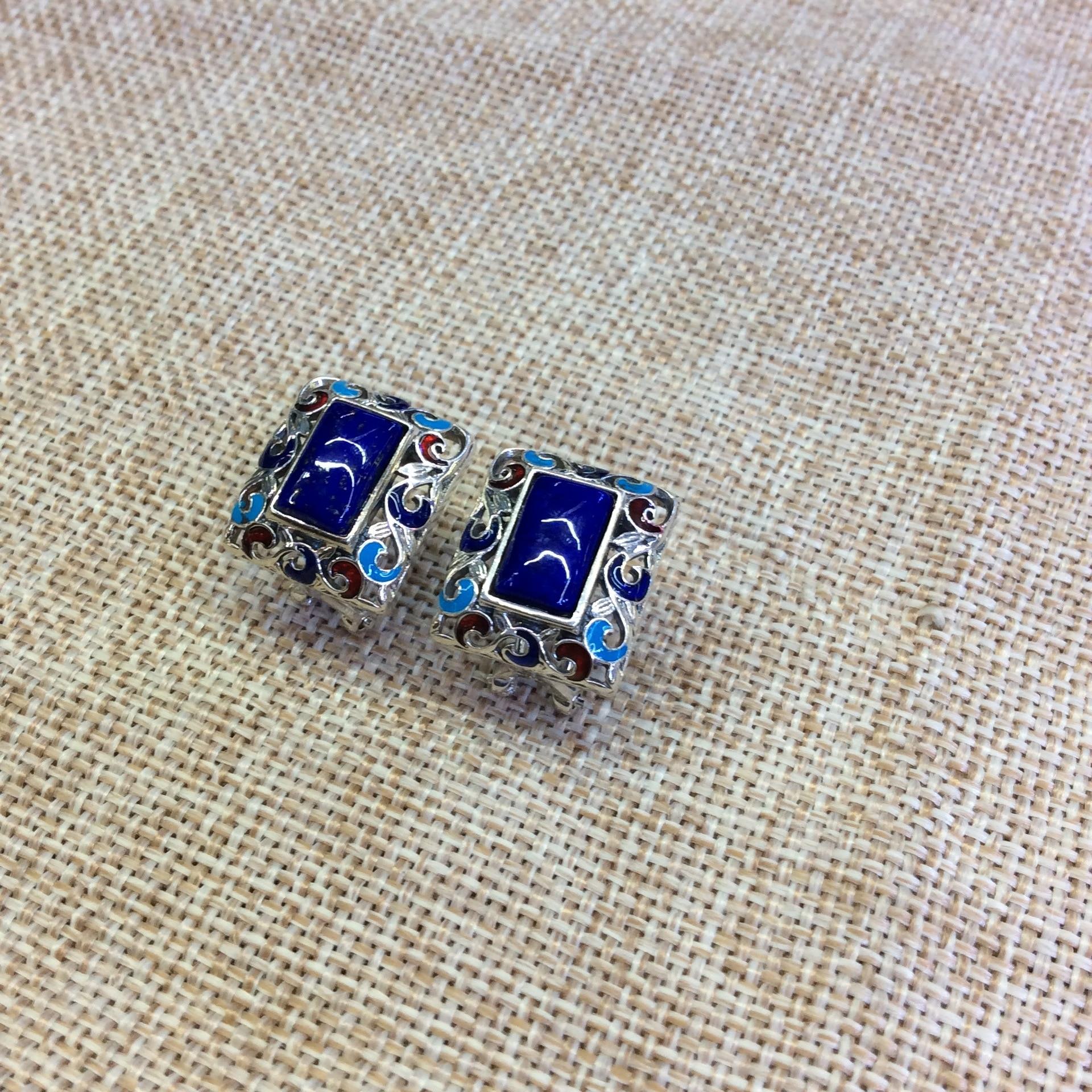 [S925] boucles d'oreilles en argent naturel avec incrustation de lapis lazuli