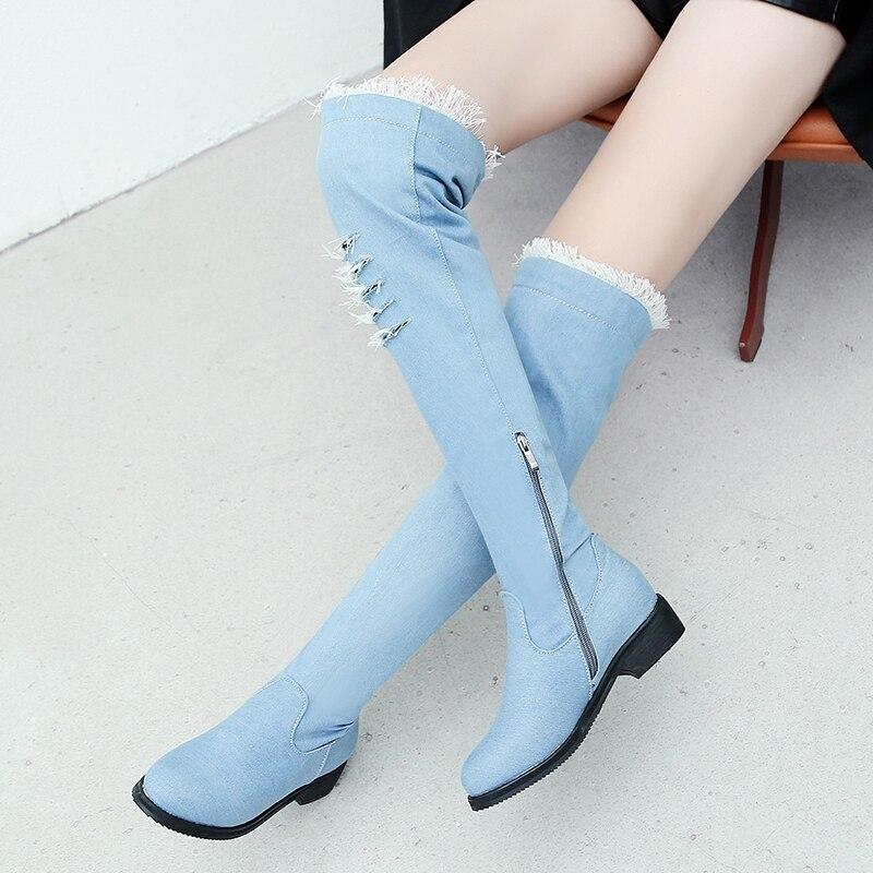 ASILETO women flat heels shoes blue jeans booties western cowboy broken denim thigh high boots botas zapatos chaussure S975ASILETO women flat heels shoes blue jeans booties western cowboy broken denim thigh high boots botas zapatos chaussure S975