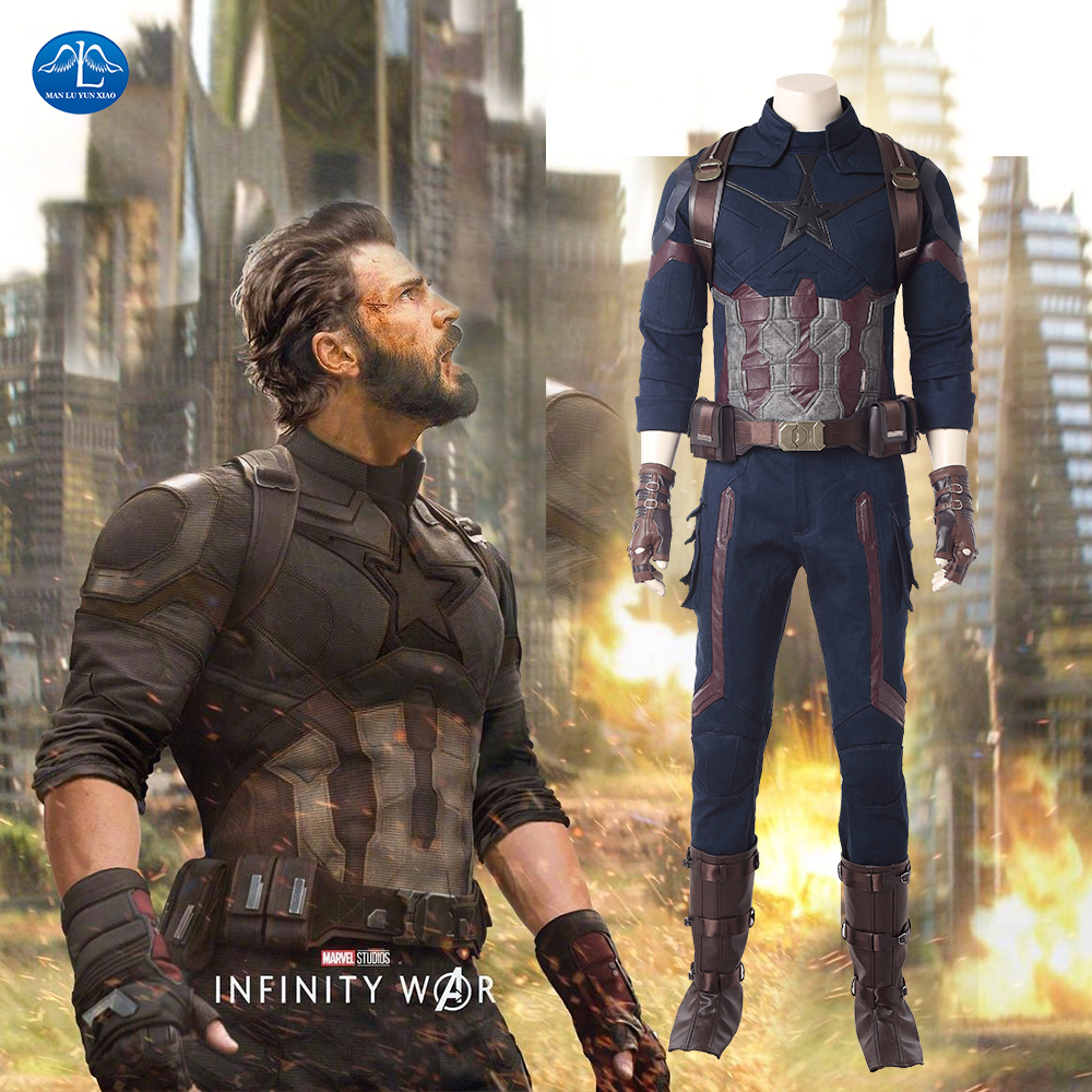 New 2018 Movie Avengers Infinity War Captain America Cosplay Costume Men Adult Captain America Costume For Adult Custom Made