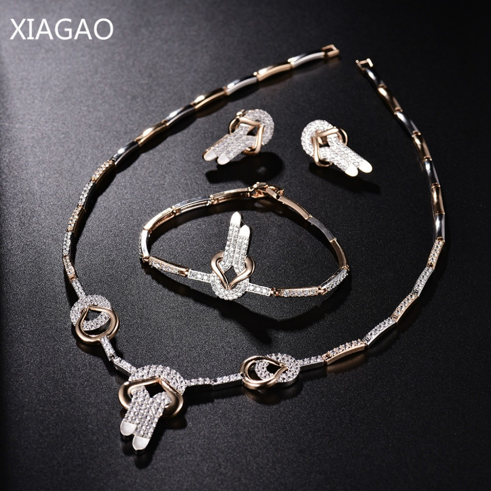 XIAGAO Crystal Bridal Jewelry Sets Gold Color Rhinestone Necklace Bracelet Earring Wedding Engagement Jewelry Sets for Women XIAGAO Crystal Bridal Jewelry Sets Gold Color Rhinestone Necklace Bracelet Earring Wedding Engagement Jewelry Sets for Women