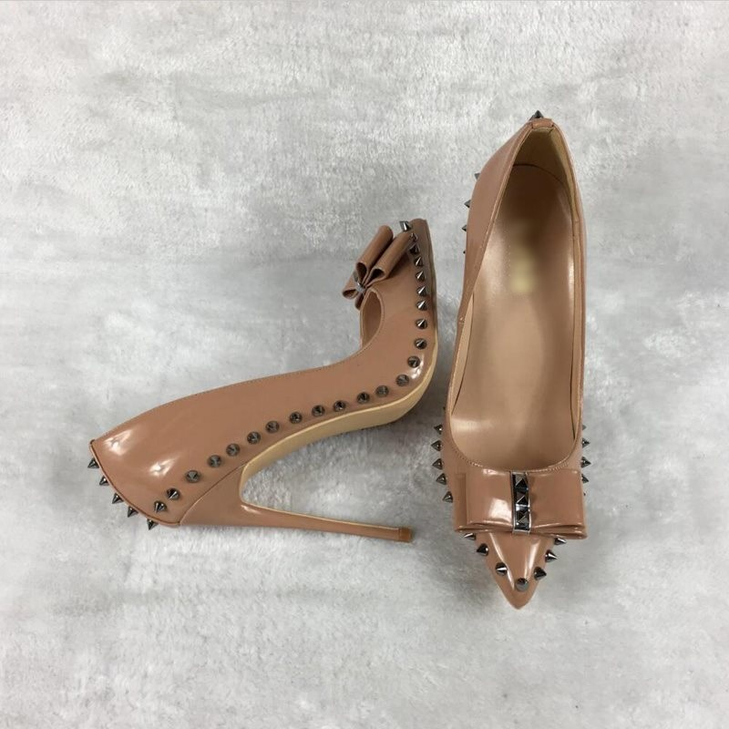 Women High Heels Shoes Pumps Lady Prom Shoes Plain Rivet Pointed Toe Stiletto Heels Summer New in Women 39 s Pumps from Shoes