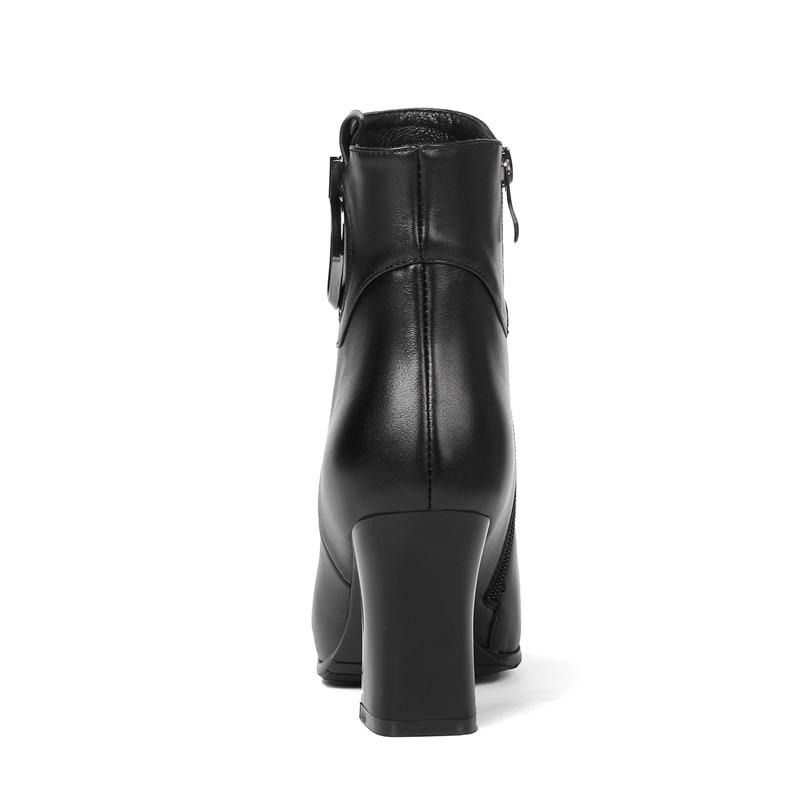 Arrivée 2018 Noir Bottes Nouvelle En Taille Épais Grande Femmes Hiver Cuir De Bout Vache Marque 42 33 Pointu Cheville Smirnova Talons qAR5dExwXw