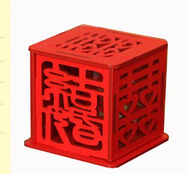 50pcs one lot Double happiness Vintage Chinese Style Wooden Unique Sweetbox Wedding Favors holders Candy box