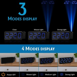 Image 3 - FM Radio Alarm Clock with time Projection Temperature Electronic Table Watch Bedside Desk Projector watch nixie Digital Clock