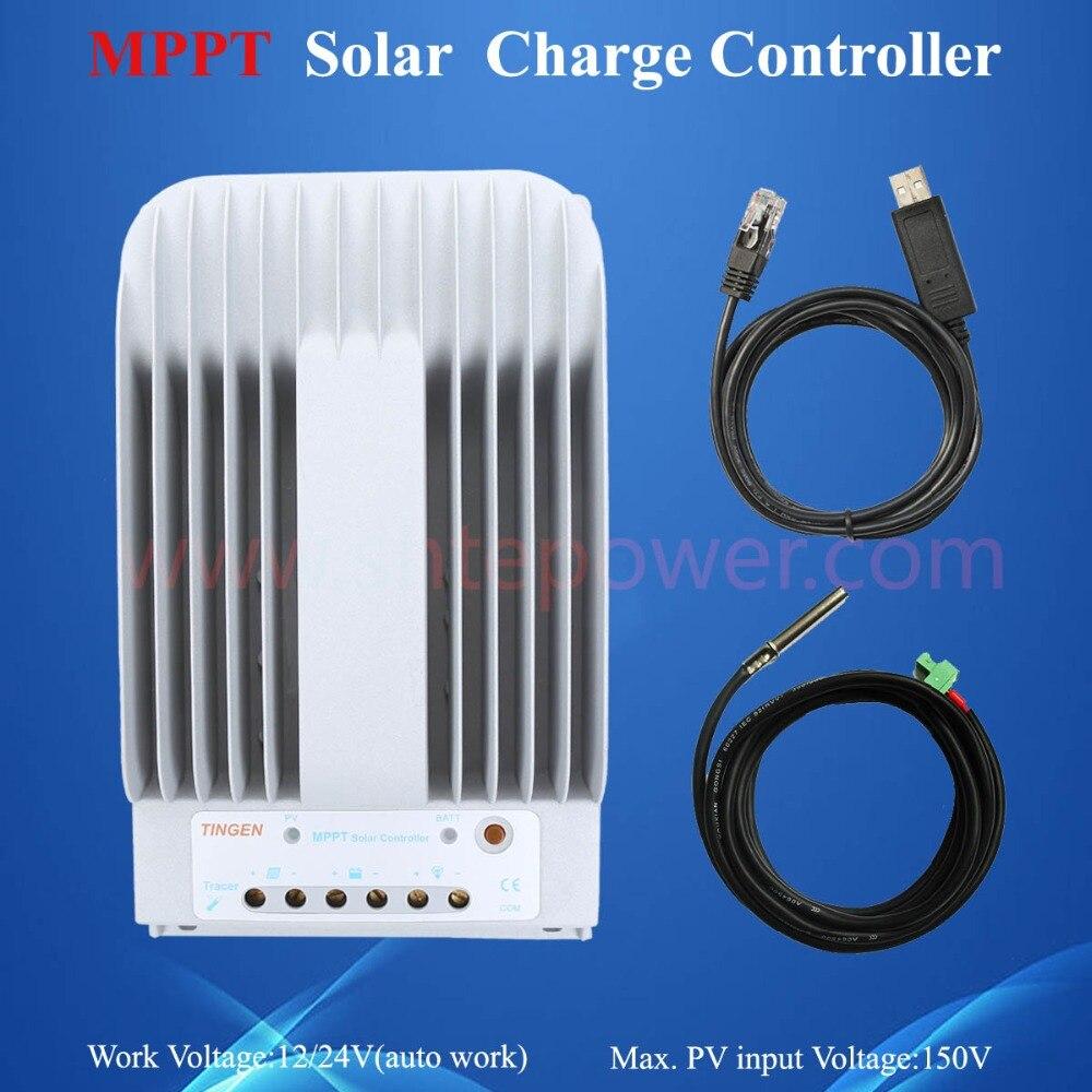 Contrôleur de charge solaire 12 v 24 v 20a mppt, contrôleur d'utilisation du système pv tracer2215bn