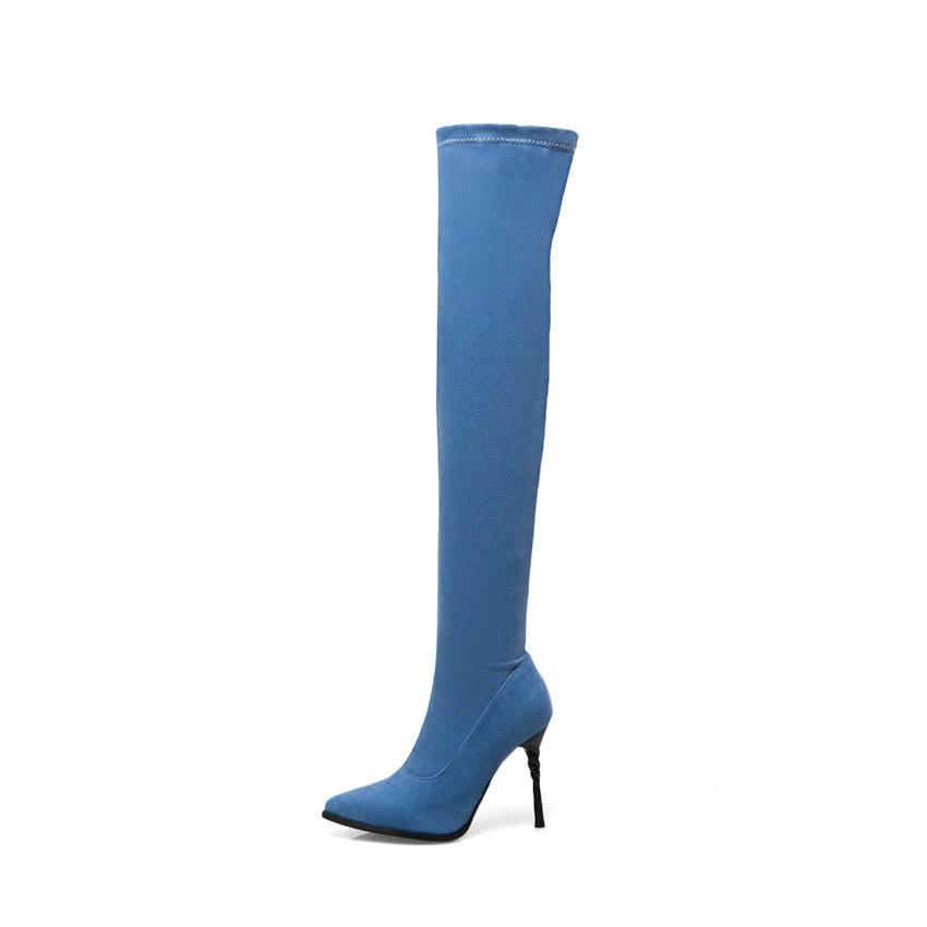 Genou Bleu Mince Bout Chaussures Femmes Les Courte 42 Sur Haut Bottes Peluche Au 2018 rouge Stretch Sexy Talon 43 Pointu Tasslynn Denim Danse Chaud x8wAB6Af