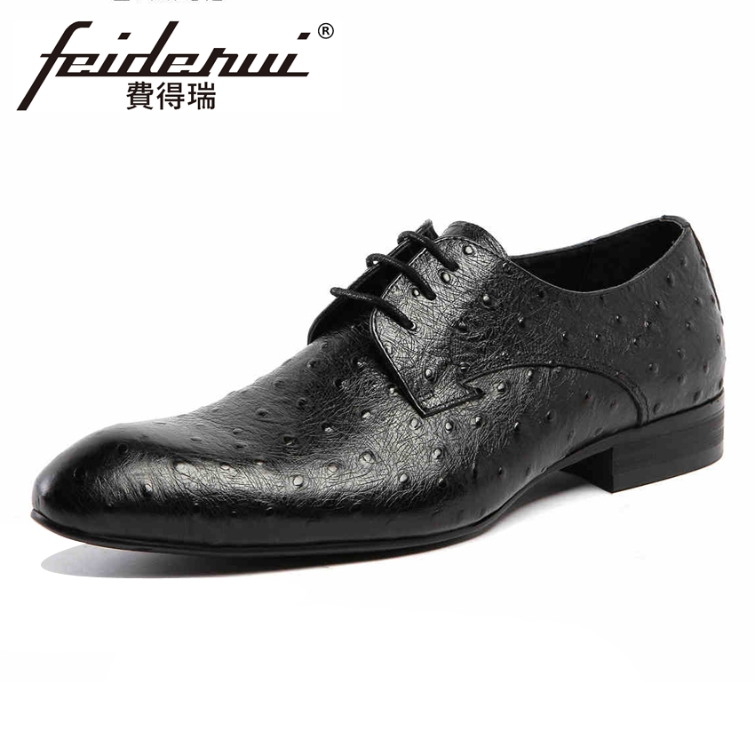 Luxury Ostrich Patter Handmade Derby Mens Footwear Genuine Leather Round Toe Lace-up Man Formal Dress Wedding Party Shoes YMX197 elanrom summer men formal derby wedding dress shoes cow genuine leather lace up round toe latex height increasing 30mm massage