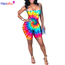 9b0a179a72a6 HAOOHU Dot Colorful Tie Dye Sexy Playsuits Backless Bandage Bodysuit Summer  Overalls Bodycon Rompers Womens Jumpsuit Shorts. US  17.73   piece Free  Shipping
