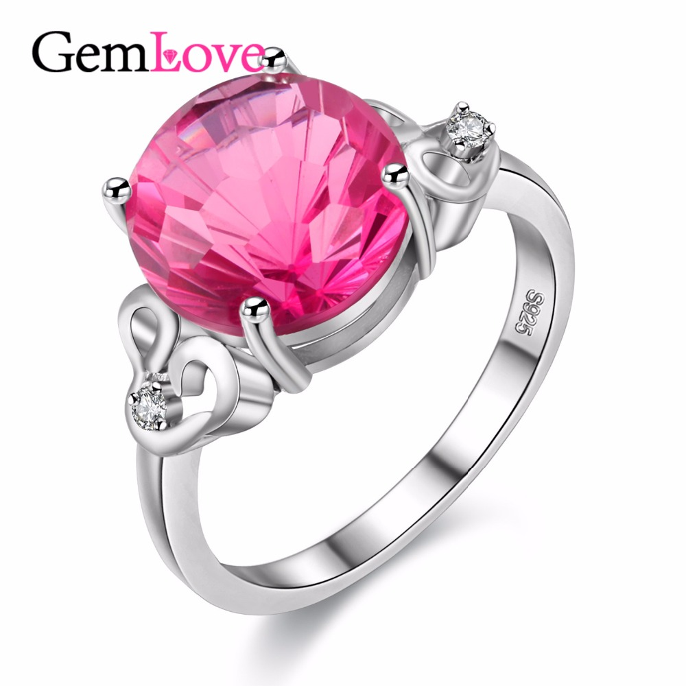 Gemlove 5ct Pink Topaz Diamond Rings Jewelry 925 Sterling Silver Engagment  Ring With A Natural Stone Mujer With Box 40% Fj077
