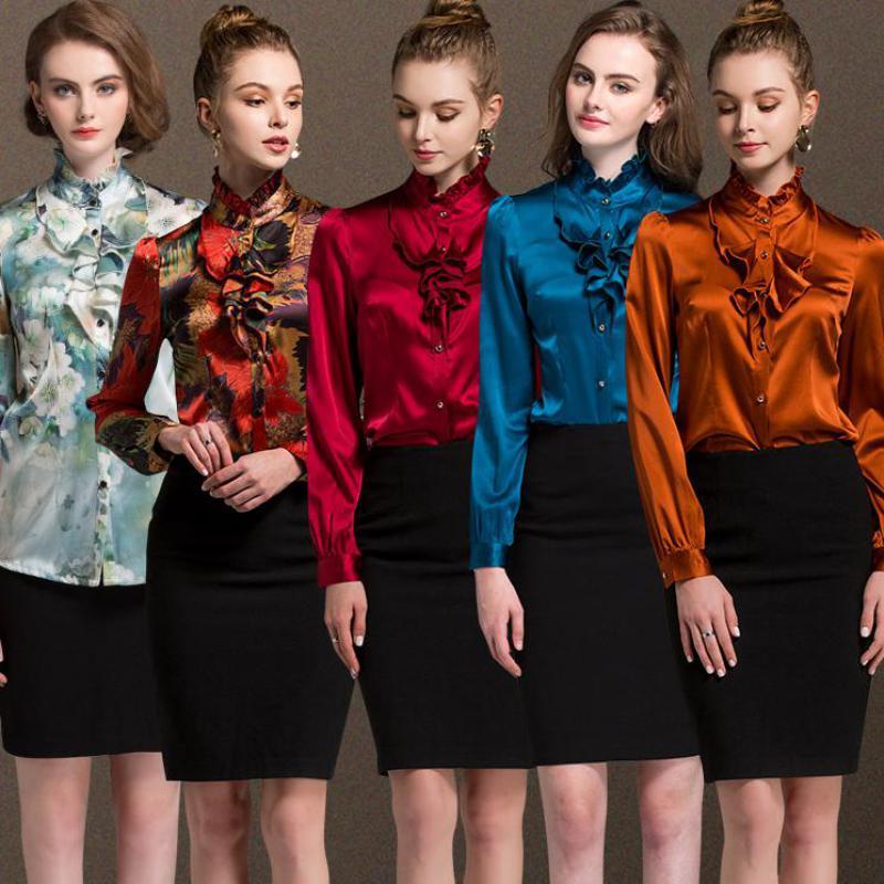 2018 nouveau Ol popeline pleine volants solide Stand Blouses régulières chemises soie Lotus feuille bord à manches longues automne femmes haut chemisier