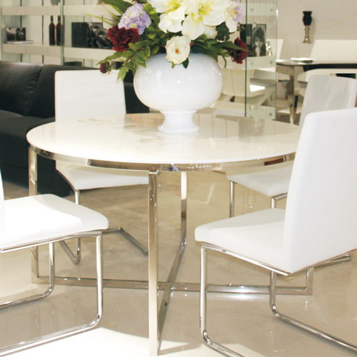Amazing Grade Pure White Piano Lacquer Paint A Stylish Dining Minimalist Stainless  Steel Plate Round Dining Table