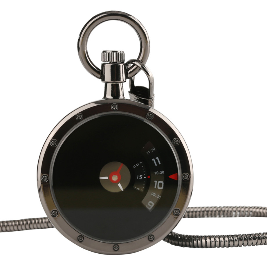 Vintage Retro Black Hollow Small Second Disk Movement Quartz Pocket Watch Pendant Gift With Chain Pocket Watches