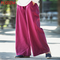 Women Vintage Water Wash Casual Wide Leg Pants Chinese National Style Sraight Pants Solid Color Loose Long Trousers