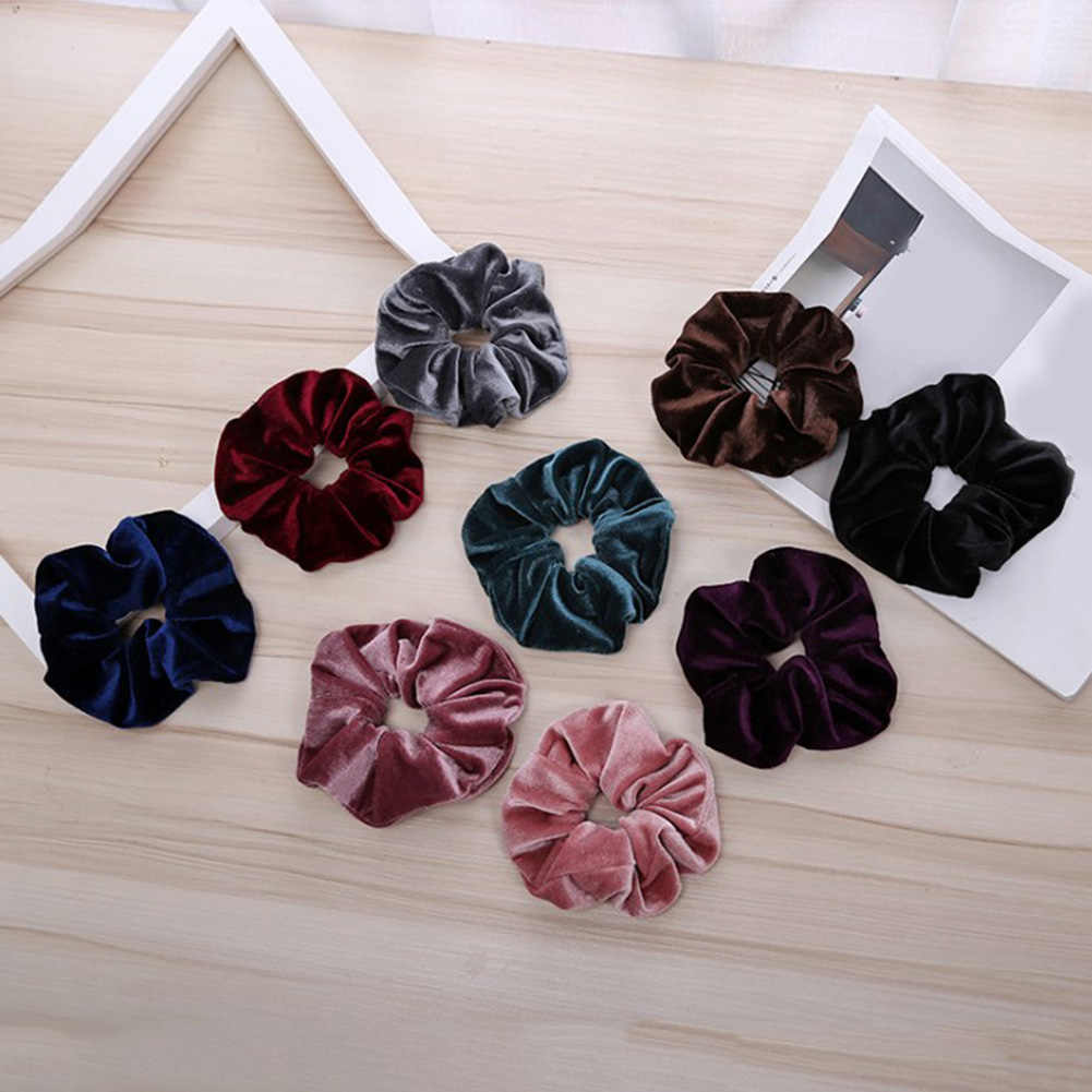 20 Colors Velvet Scrunchie Soft Elastic Hair Rubber Bands Girls Stretchy Hair Ring Rope Ponytail Holder Women Hair Accessories
