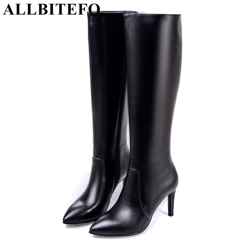 ALLBITEFO fashion genuine leather pointed toe high heels women boots women high heel shoes winter girls boots bota de neve de la chance winter women boots high quality female genuine leather boots work