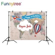 Funnytree fundo fotografia de viagem mapa do mundo da festa de aniversário de balão de ar quente photocall pano de fundo estúdio de fotografia profissional