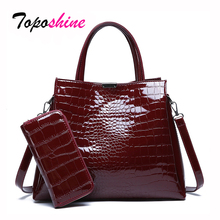 Crocodile Pattern Two Sets Of Composite Bag Ladies Handbags New Fashion High Quality Casual Wild Shoulder Messenger Bag perfect the explosion 2016 new oil two sets of bags europe and america shoulder messenger laptop fashion handbags free shipping