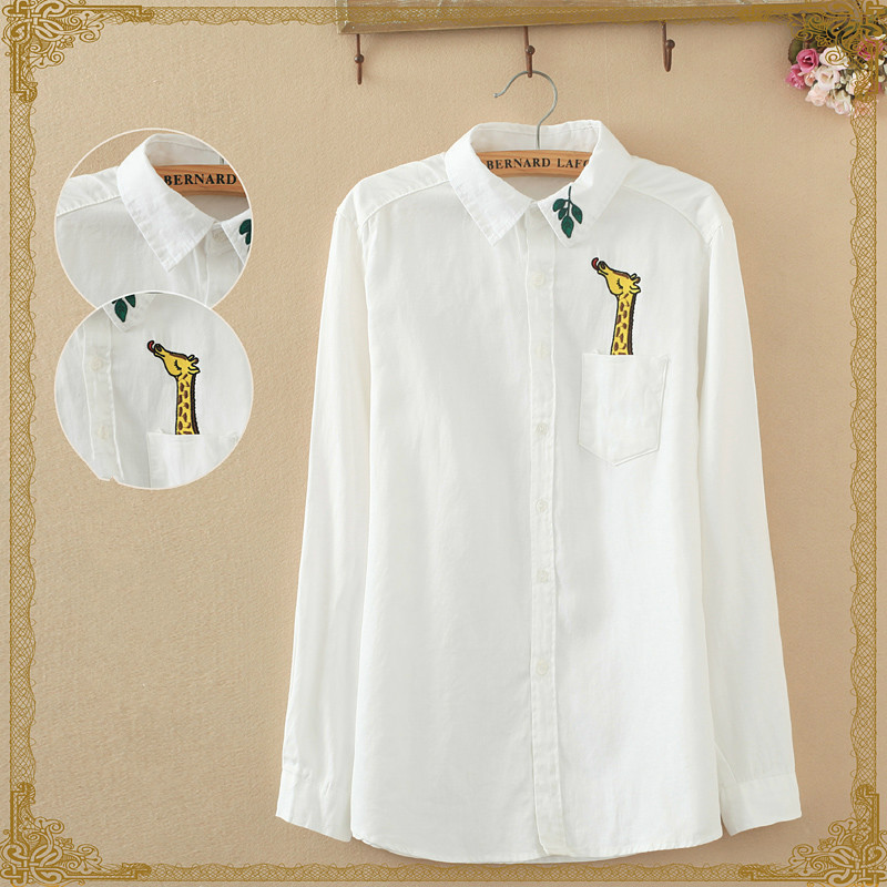 2020 Women Embroidery Giraffe Female Square Collar Long-sleeve Leaves White Shirt female 614J17