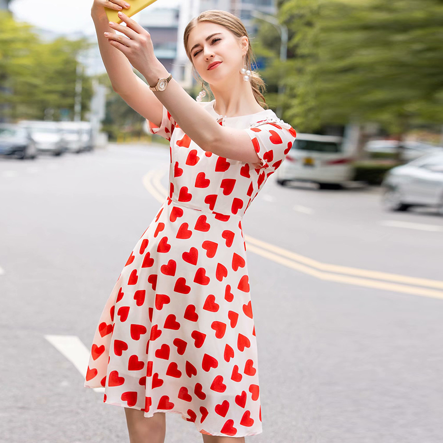 VERDEJULIAY Cute Novelty Heart Printed Dress 2019 Summer Fashion Peter Pan Collar Lace Slim Beaded Romantic Dress for girl